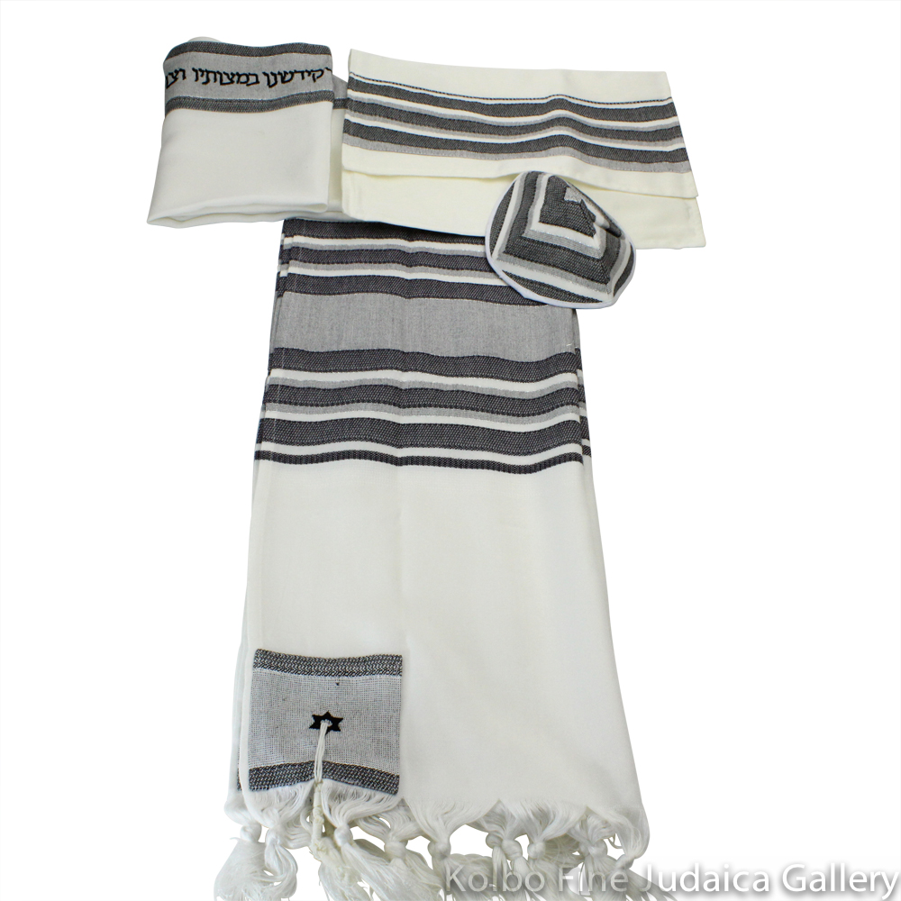 Tallit Set, Black Traditional Striping, Viscose