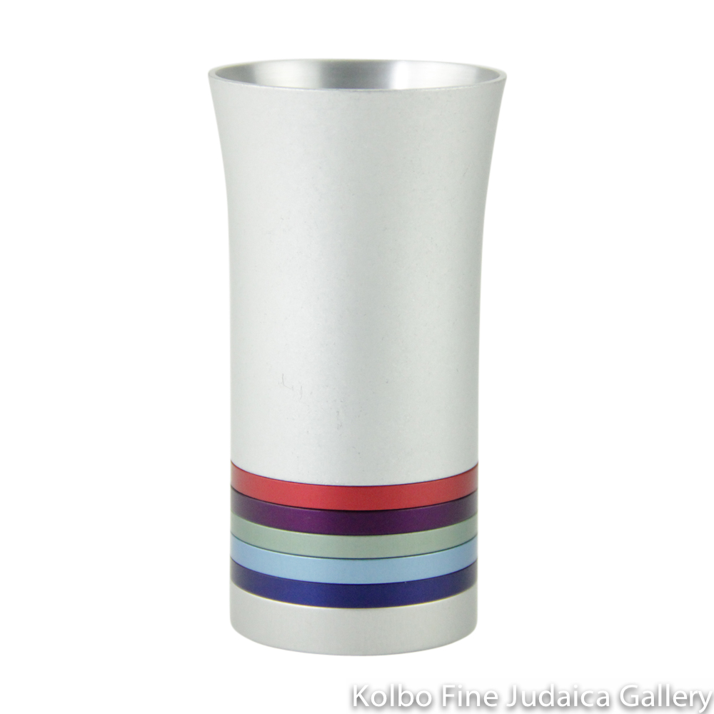 Kiddush Cup, Modern Anodized Aluminum Design with Multicolored Rings