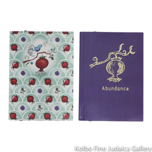 Notebook Set, Pomegranate Design, Full Color Cover and Gold Foil Set of Two, Lined Paper