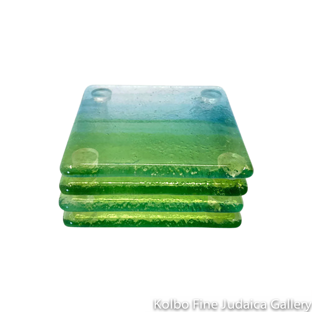 Coasters, Green and Teal Fused Glass, Set Of Four