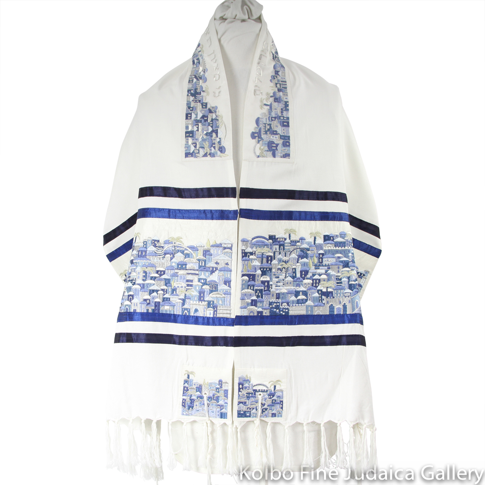 Tallit Set, Embroidered Blue Jerusalem Design, Woven Cotton, three pieces