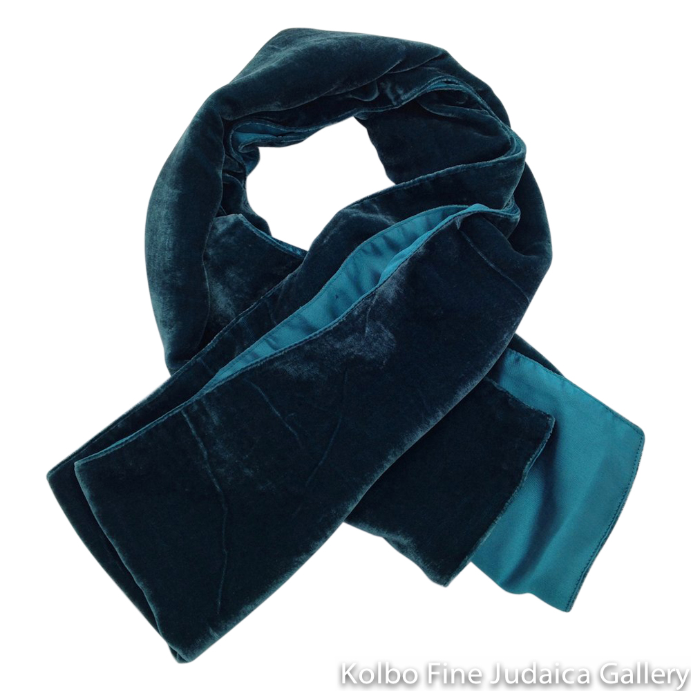 Scarf, Teal Blue Two-Tone Design, Velvet and Silk, Hand-Made