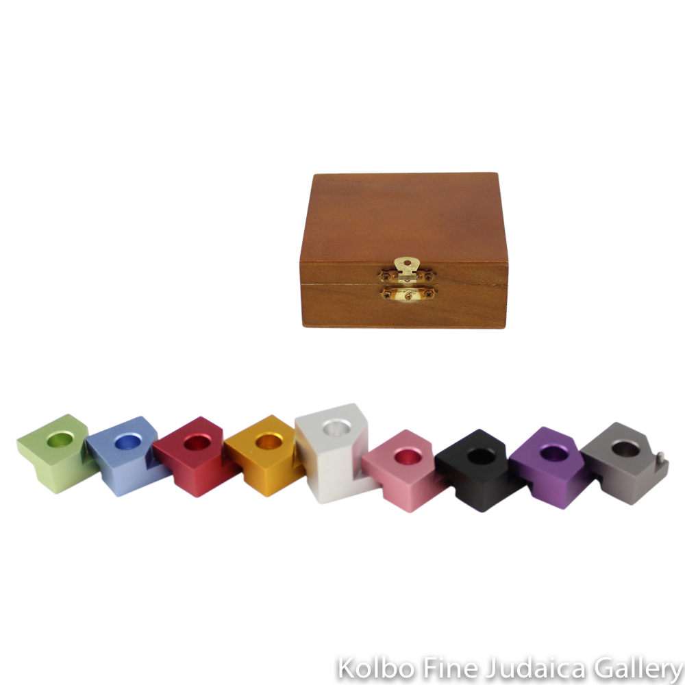 Menorah, Step Style for Travel, Rainbow Colored Anodized Aluminum