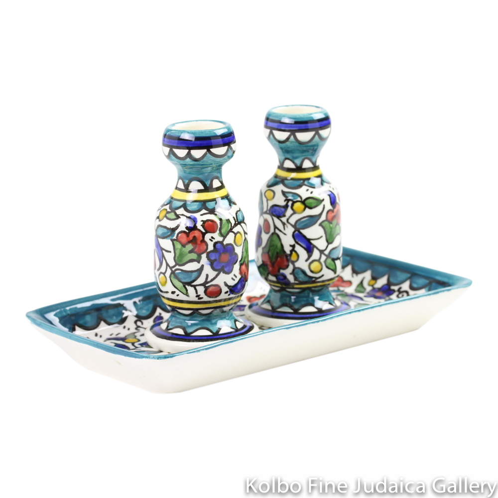 Candlesticks and Tray, Multi-Colored Teal Armenian Pottery, Hand-Painted in Israel