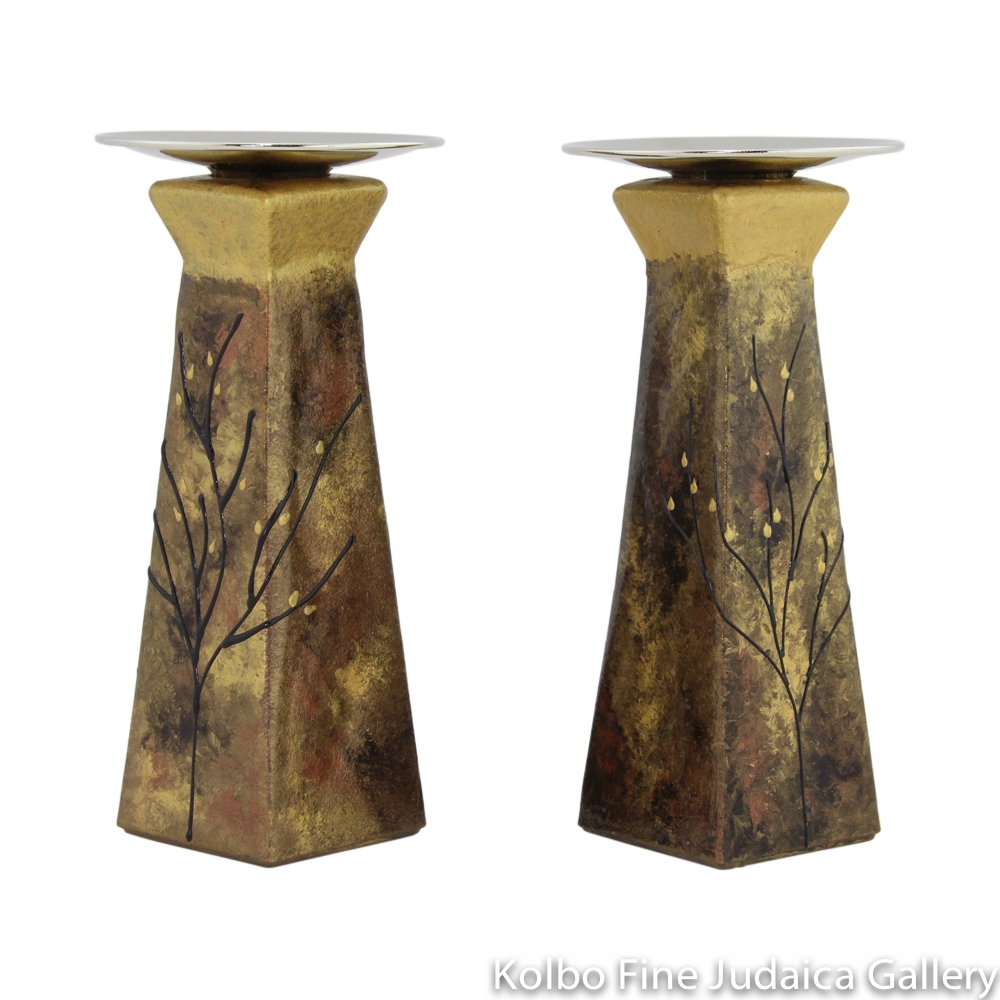 Candlesticks, Pyramid Shape, Hand-Painted Glass with Copper Tones