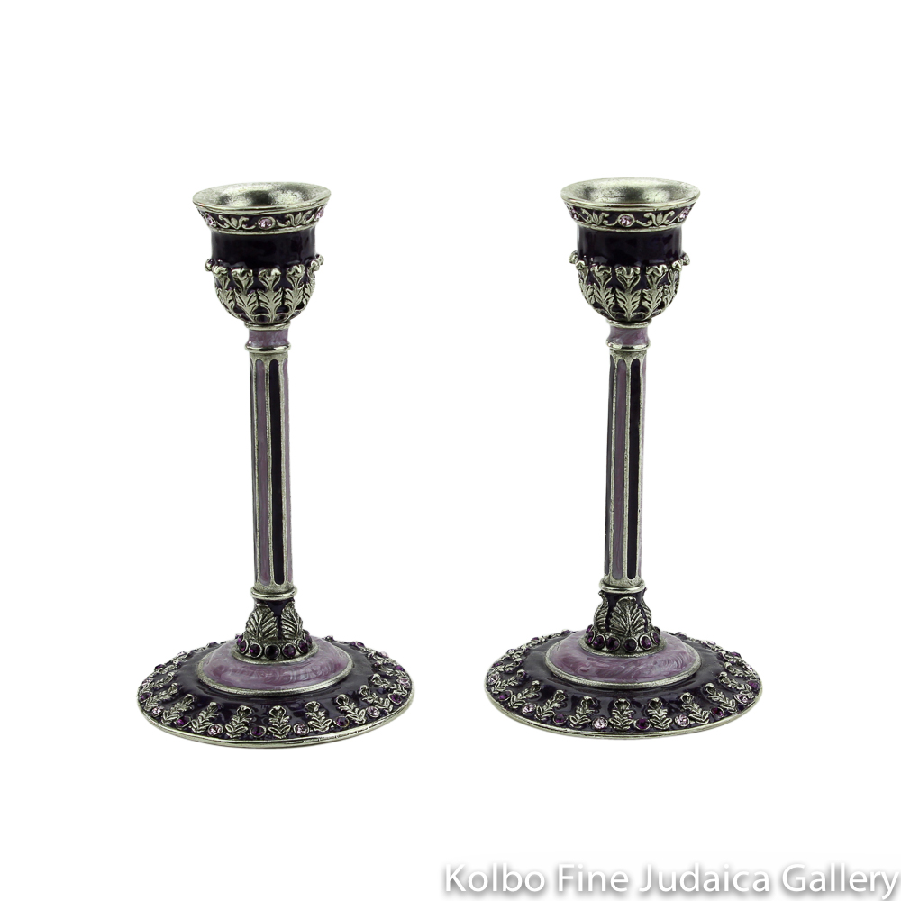 Candlesticks, Laurel Design in Purple, Pewter with Enamel and Swarovski Crystals