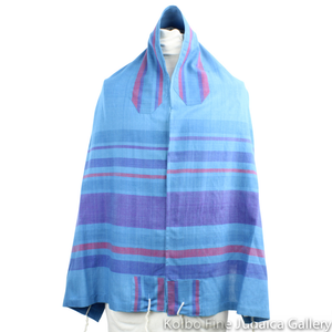 Tallit Set, Jewel Tones of Turquoise, Purple, and Pink, Hand-Spun Cotton and Silk, with Bag, Ethically and Sustainably Made
