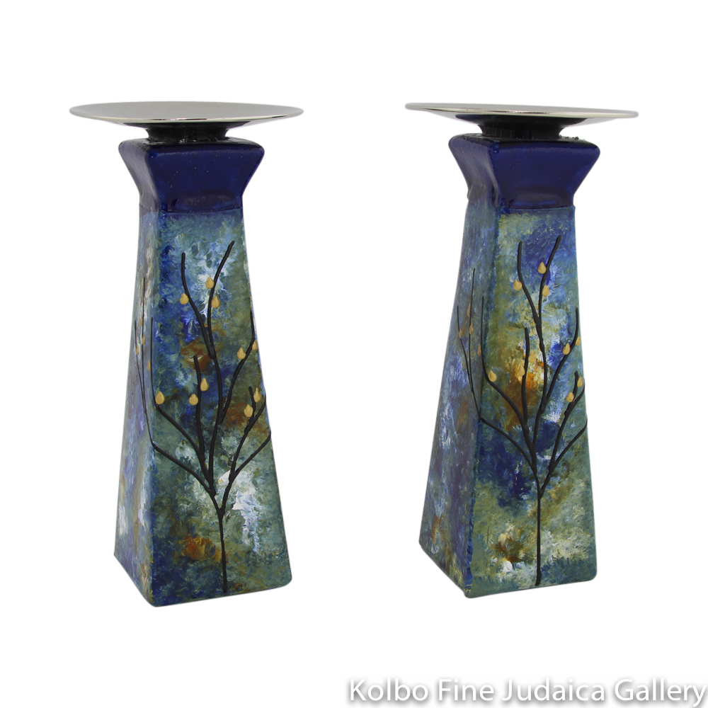 Candlesticks, Pyramid Shape, Hand-Painted Glass with Blue and Green Tones