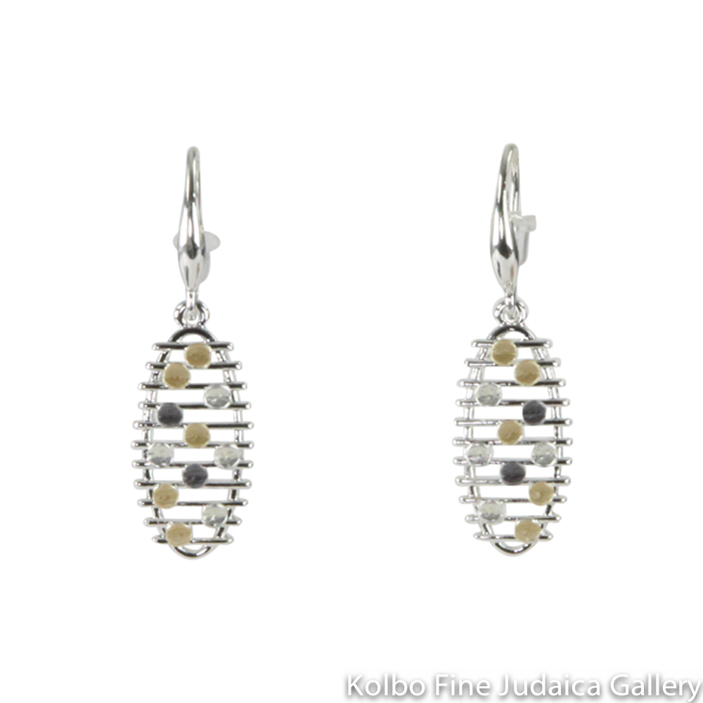 Earrings, Oval Mesh Design, Sterling Silver and Gold Plated, on Wire