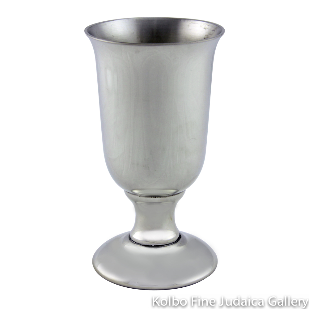 Kiddush Cup, Traditional Style with Short Stem, Pewter