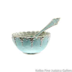 Serving Dish and Spoon, Mini Aqua Design, Hand-Painted Enamel over Pewter