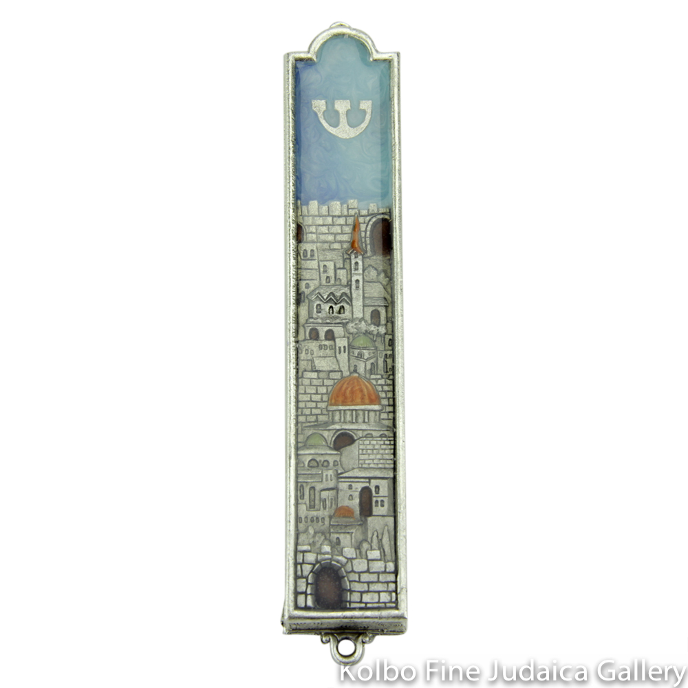 Mezuzah, Jerusalem Design, Pewter with Enamel