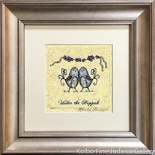 Under The Chuppah, Groom and Groom Birds, Mini, Hand-Painted, Framed