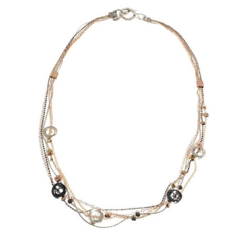 Necklace, Multistrand Chain, Sterling silver, Oxidized Silver and Gold-Filled Curls