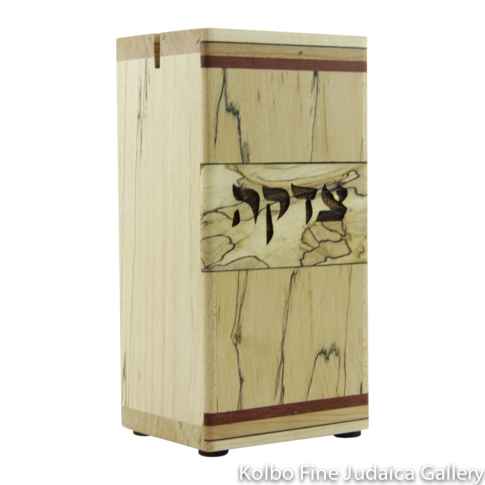 Tzedakah Box, Rectangular Design, Mixed Woods