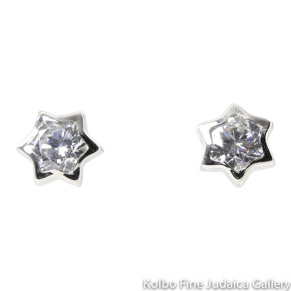 Earrings, Star of David, 14k White Gold with Clear Cubic Zirconium