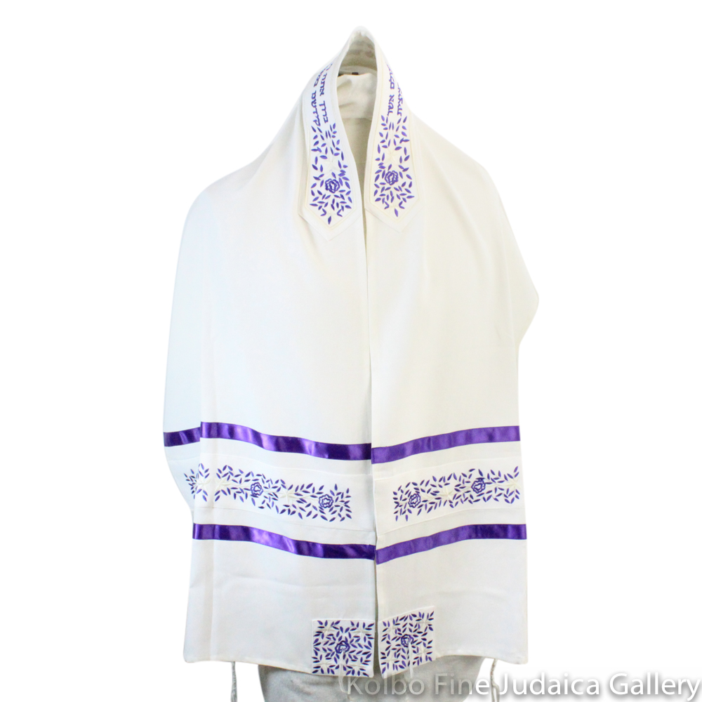 Tallit Set, Embroidered Vine Design in Purple on White Brushed Cotton