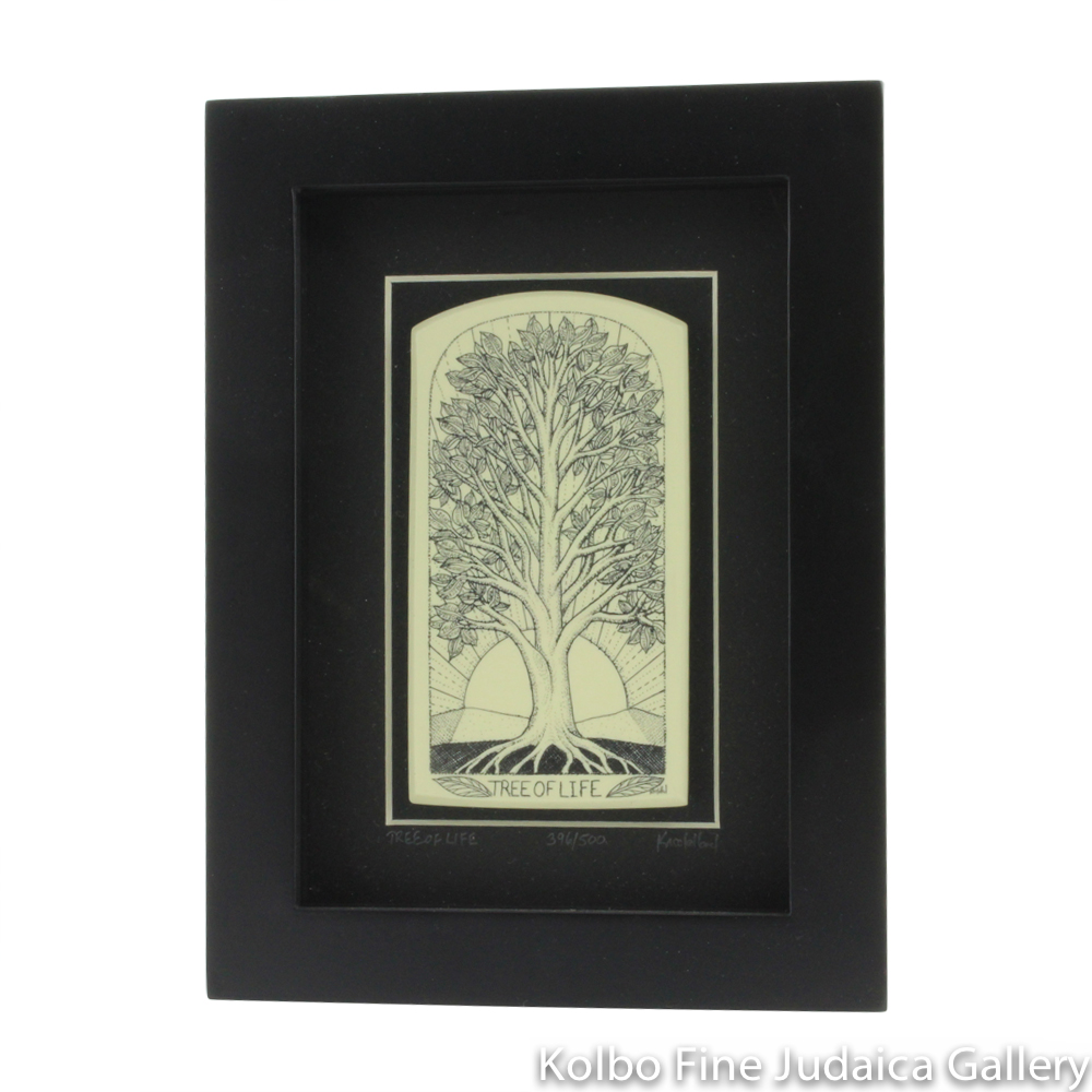 Tree of Life Reproduction Scrimshaw on Etched Resin, Framed