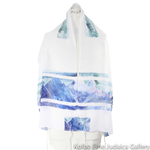 Tallit Set, Blue and Teal Majestic Mountain Design, Silk