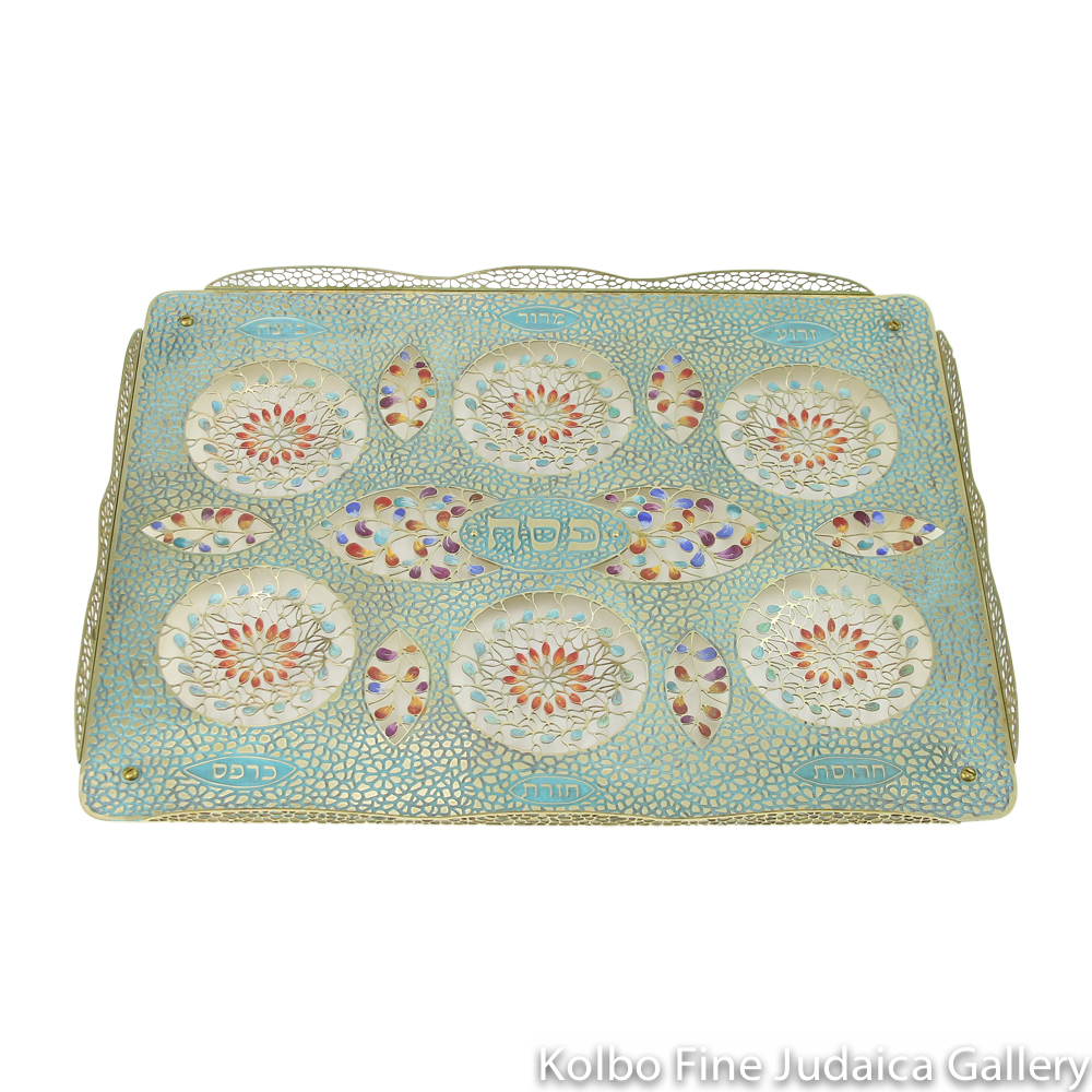 Seder Plate, Patina Painted Enamel and Multicolored Details on Hand-Crafted Brass Base, Glass Dishes