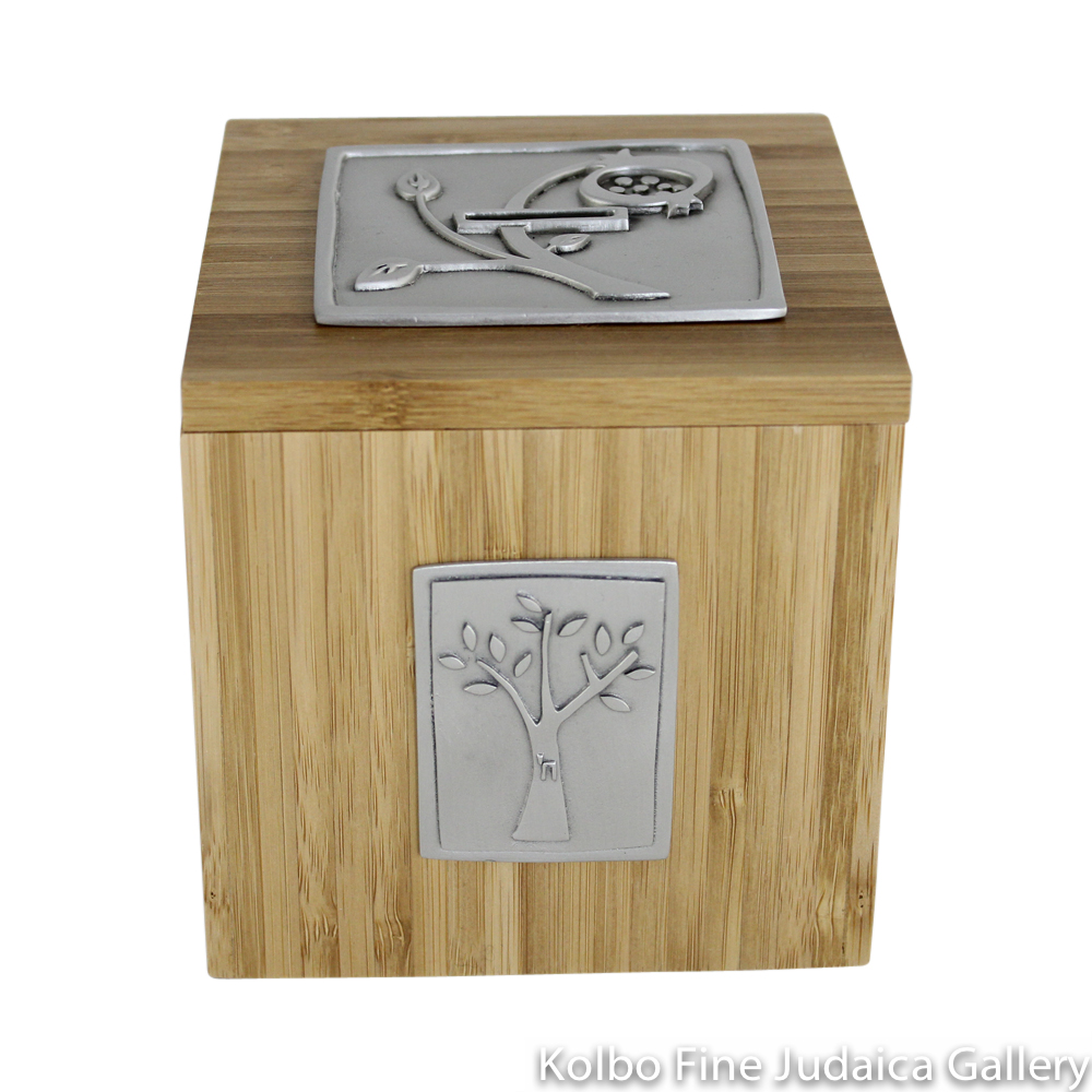 Tzedakah Box, Pomegranate and Tree Design, Pewter and Bamboo