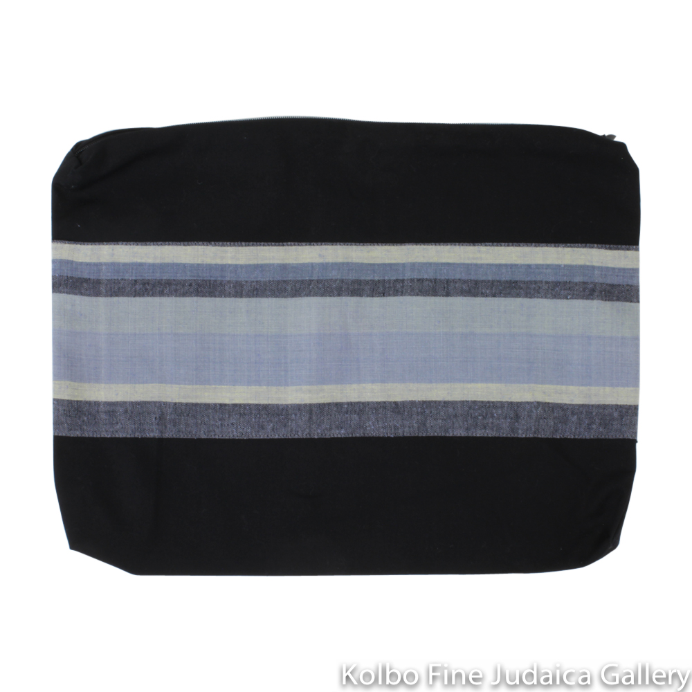 Tallit Set, Soft Tones of Gray, Ivory, Blue, and Black, Hand-Spun Cotton and Silk, with Bag, Ethically and Sustainably Made