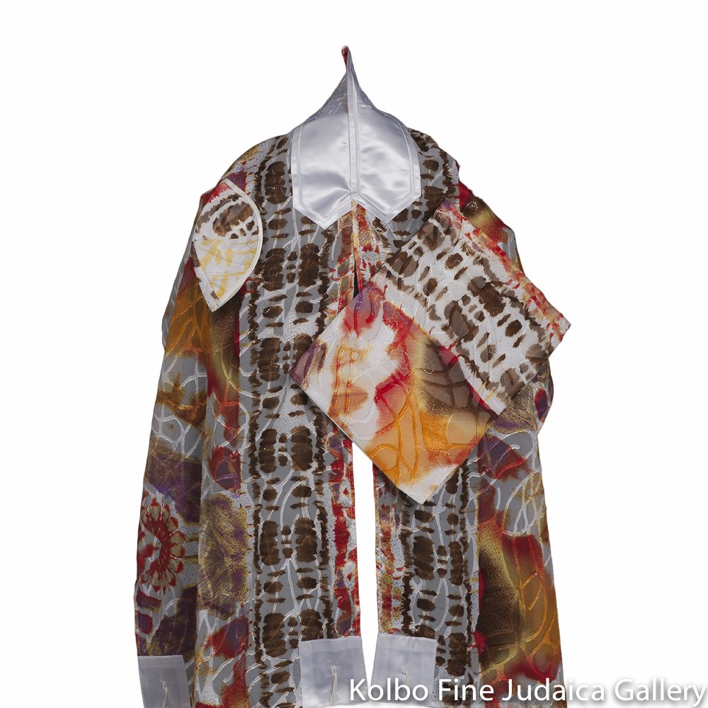 Tallit Set, Sunset Tie-Dyed Design, on Chiffon