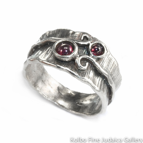 Ring, Wide Striated Sterling Silver Band, Two Small Garnets Held by Silver Vine