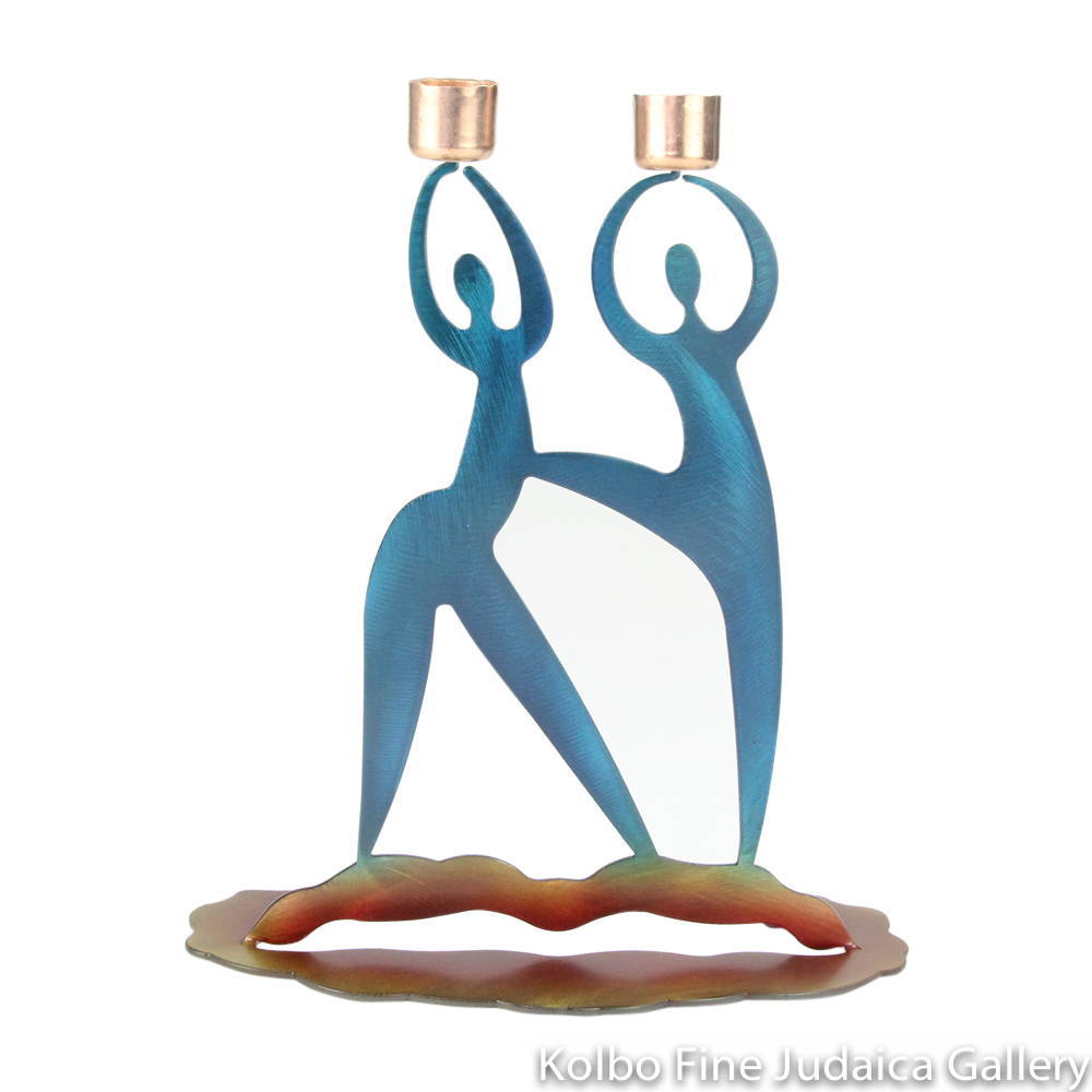 Candlesticks, Beloved Design with Two Dancing Figures, Colorful Steel and Copper Cups