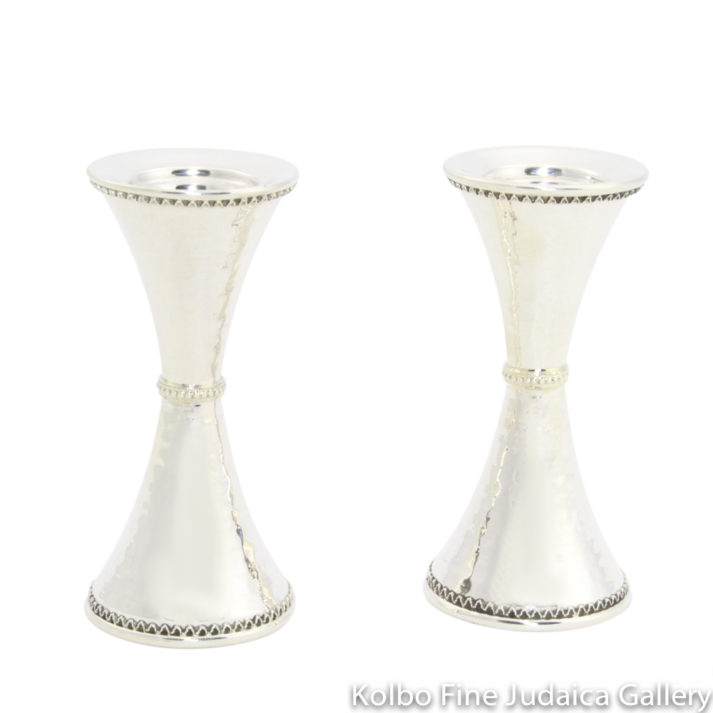 Candlesticks, Hammered Hourglass Design with Filigree, Sterling Silver