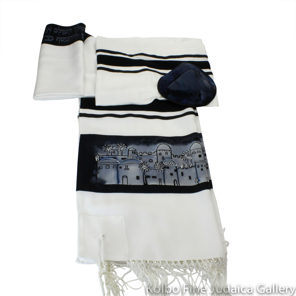 Tallit Set, Jerusalem with Stripes, Black and Gray, Hand-Painted Silk