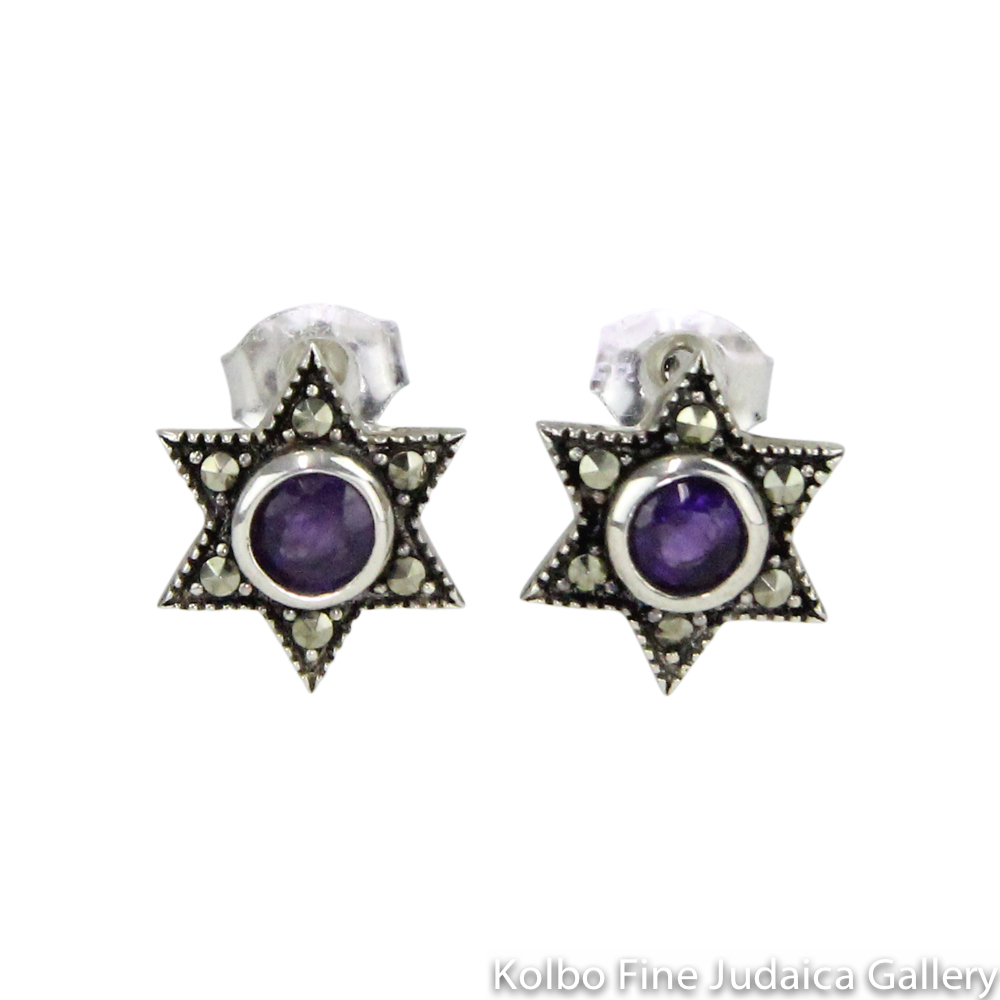 Earrings, Star with Amethyst, Marcasite, on Posts