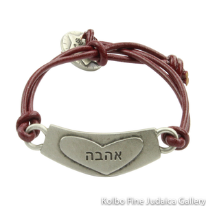 Bracelet, Love Design in Hebrew and English, Pewter with Leather Cord