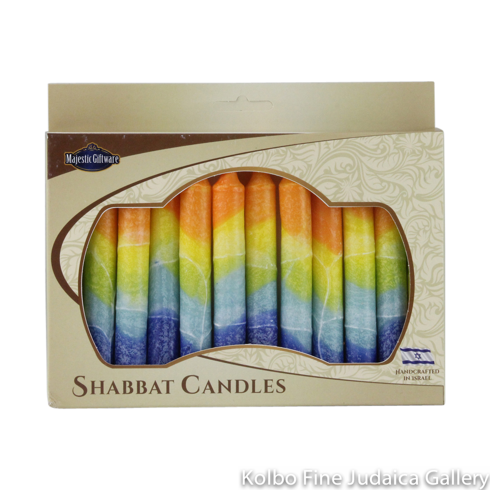 Shabbat Candles, Rainbow Box of 12, Unscented Dripless Paraffin