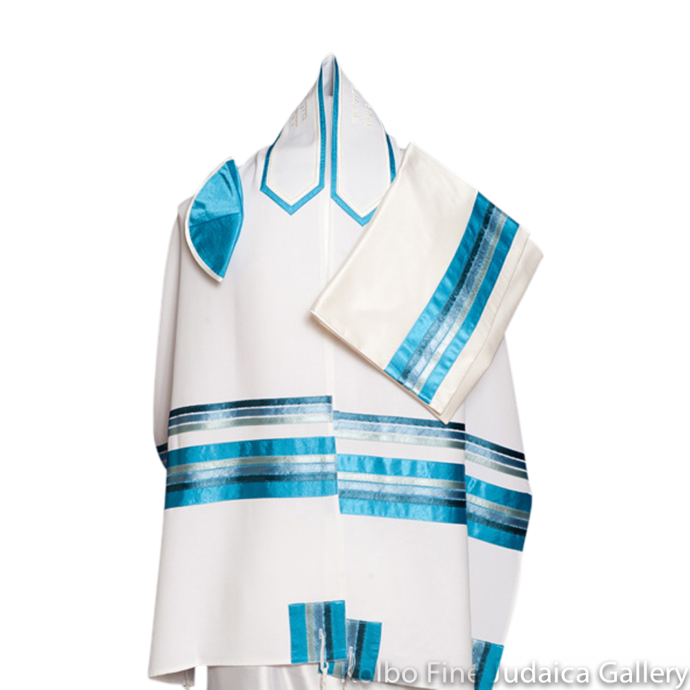 Tallit Set, Thin Multi-Blue Stripes on White Brushed Cotton