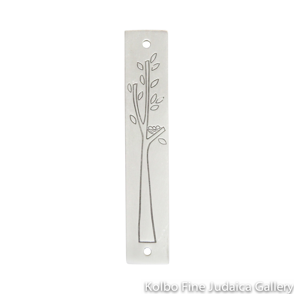 Mezuzah, Tree with Leaves, Line Drawing on Pewter
