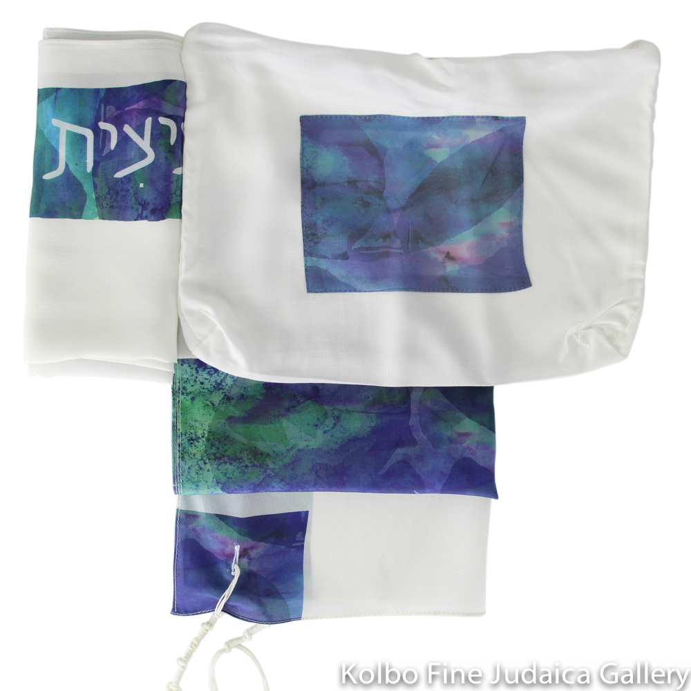 Tallit Set, Teal and Blue Watercolor Block with Water Lilies, Silk