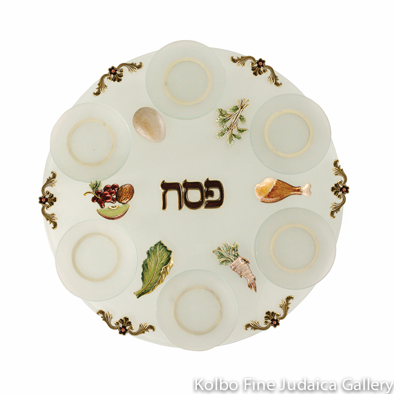 Seder Plate, Symbols Design, Frosted Glass and Pewter with Enamel