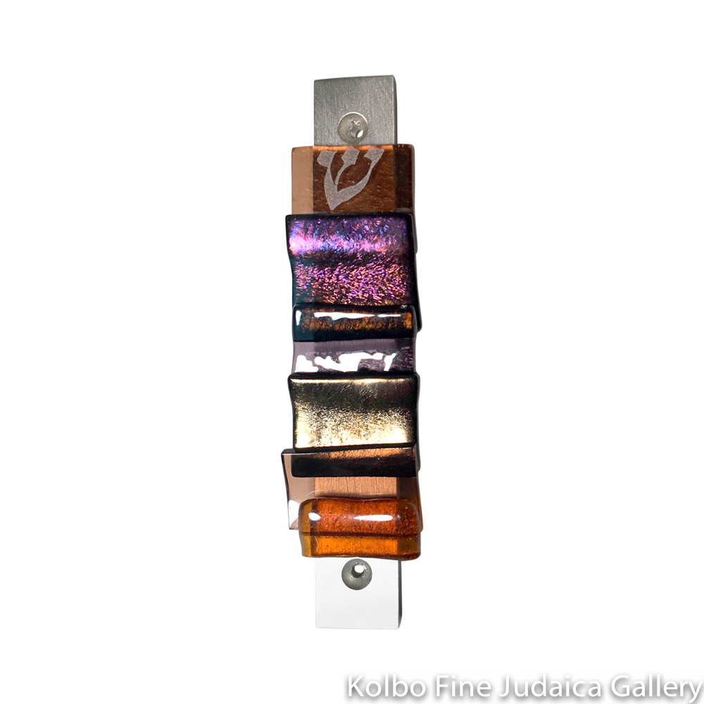 Mezuzah, Majestic Gala Collection, Sunrise, Fused Glass and Metal