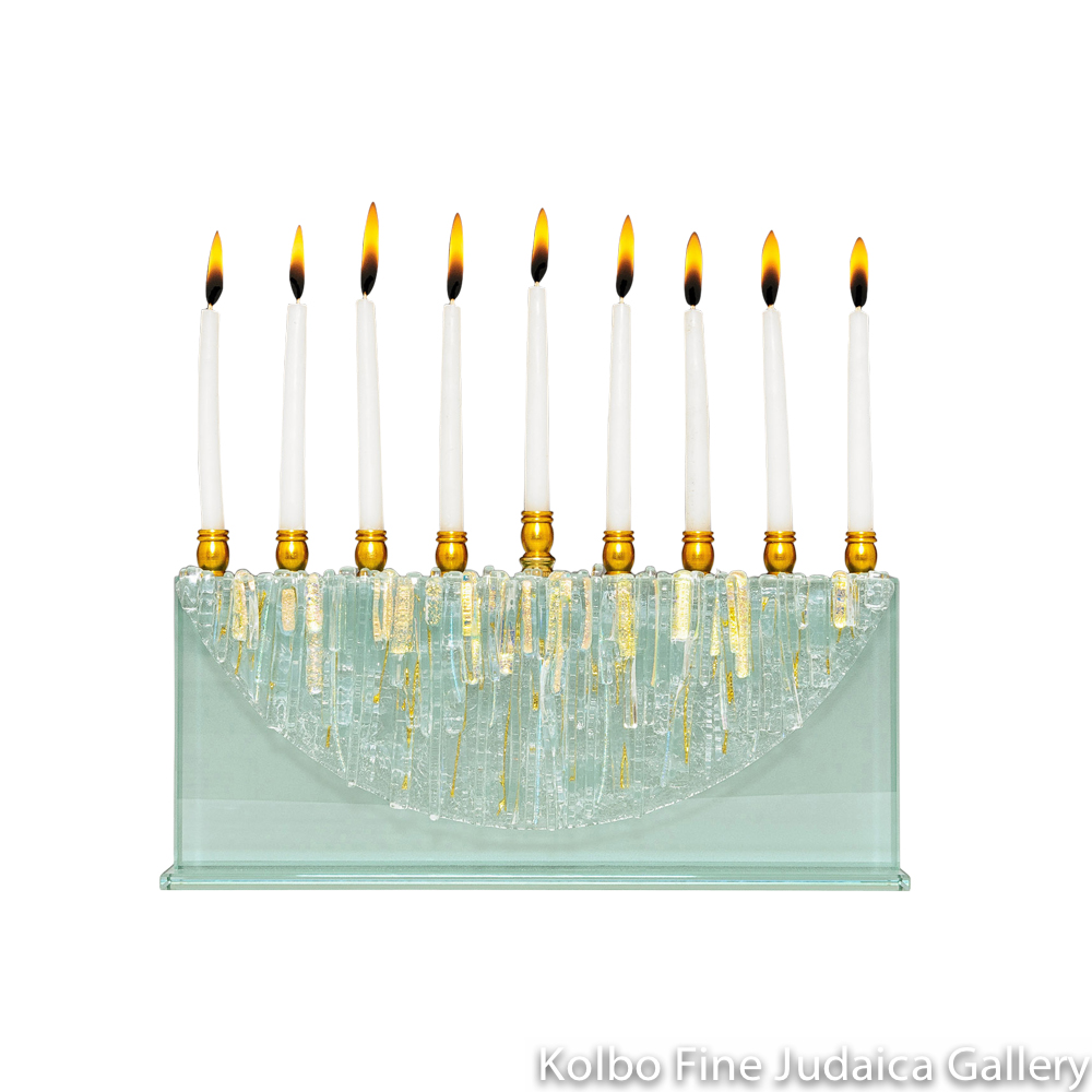 Menorah, Clear Icicle Moon, Dichroic Gold Accents, Glass