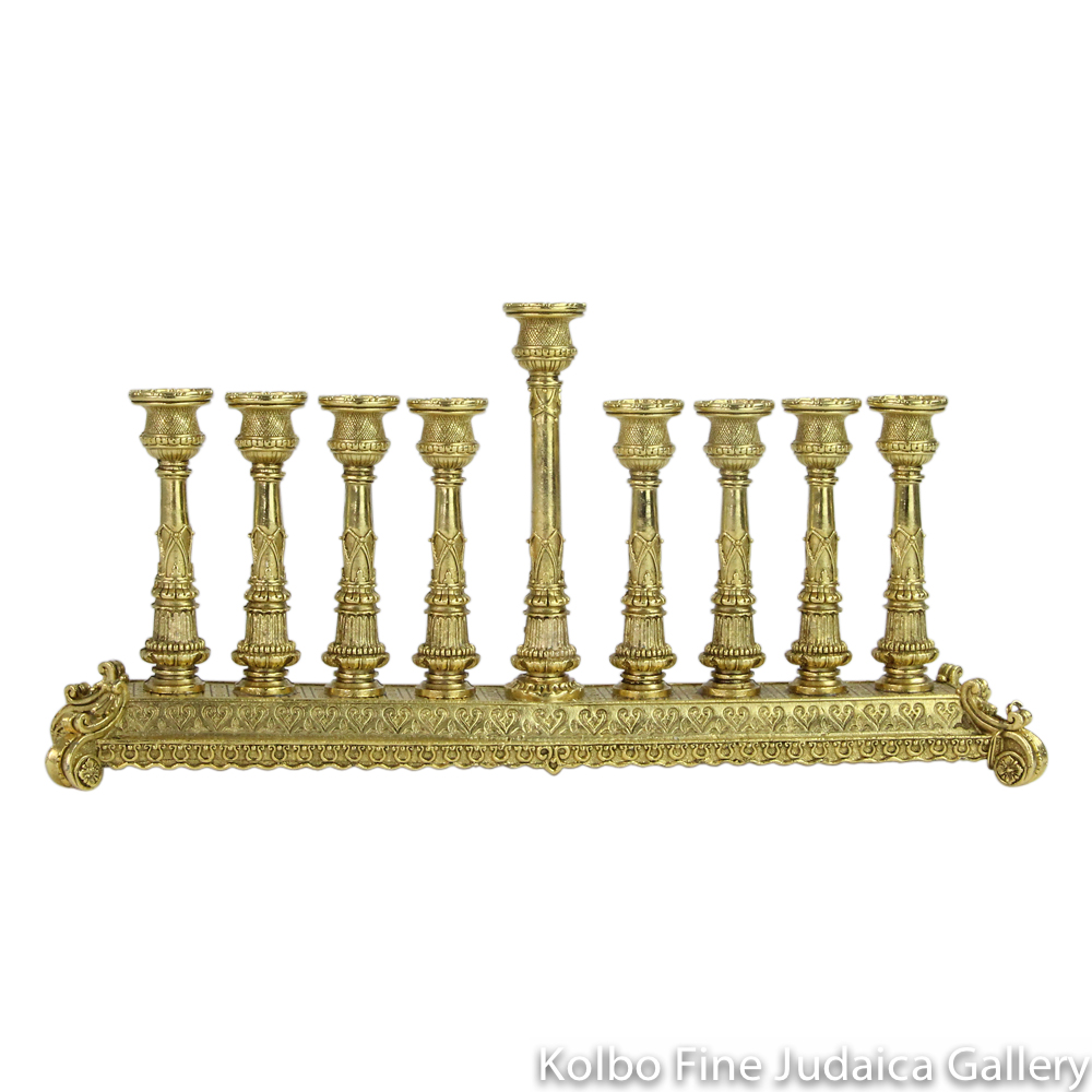 Menorah, Rectangular Base with Intricate Detailing, Gold Plate Over Pewter