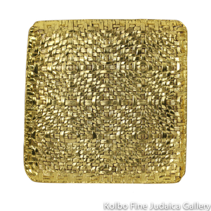 Matzah Plate, Palm Branch Design, Goldtone