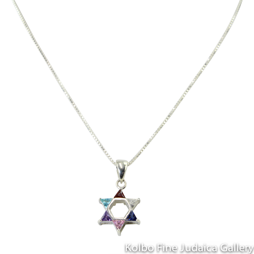 Necklace, Star of David Multicolored Design, Sterling Silver and Glass