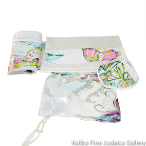 Tallit Set, Butterfly Design in Pastels on White, Chiffon and Silk