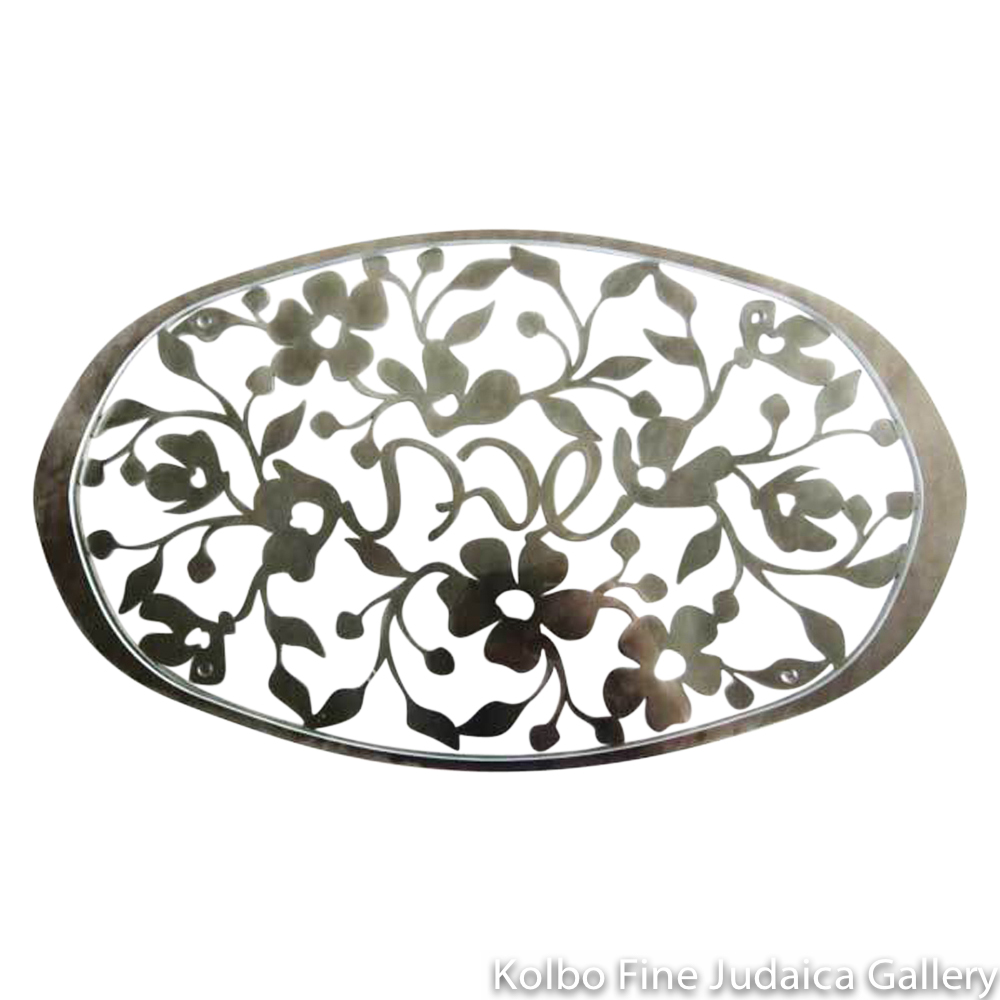 Challah Tray, Wild Rose, Lasercut Stainless Steel with Glass