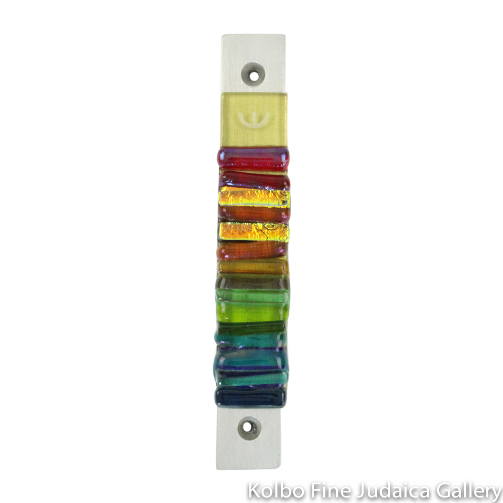 Mezuzah, Iridescent Icicle Collection in Rainbow, Fused Glass and Metal