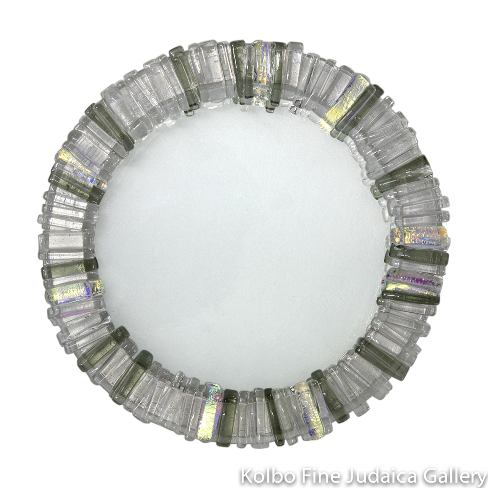 Tray for Kiddush Cup, Round, Gray, Gold, and Clear Dichroic Glass, Kolbo Exclusive