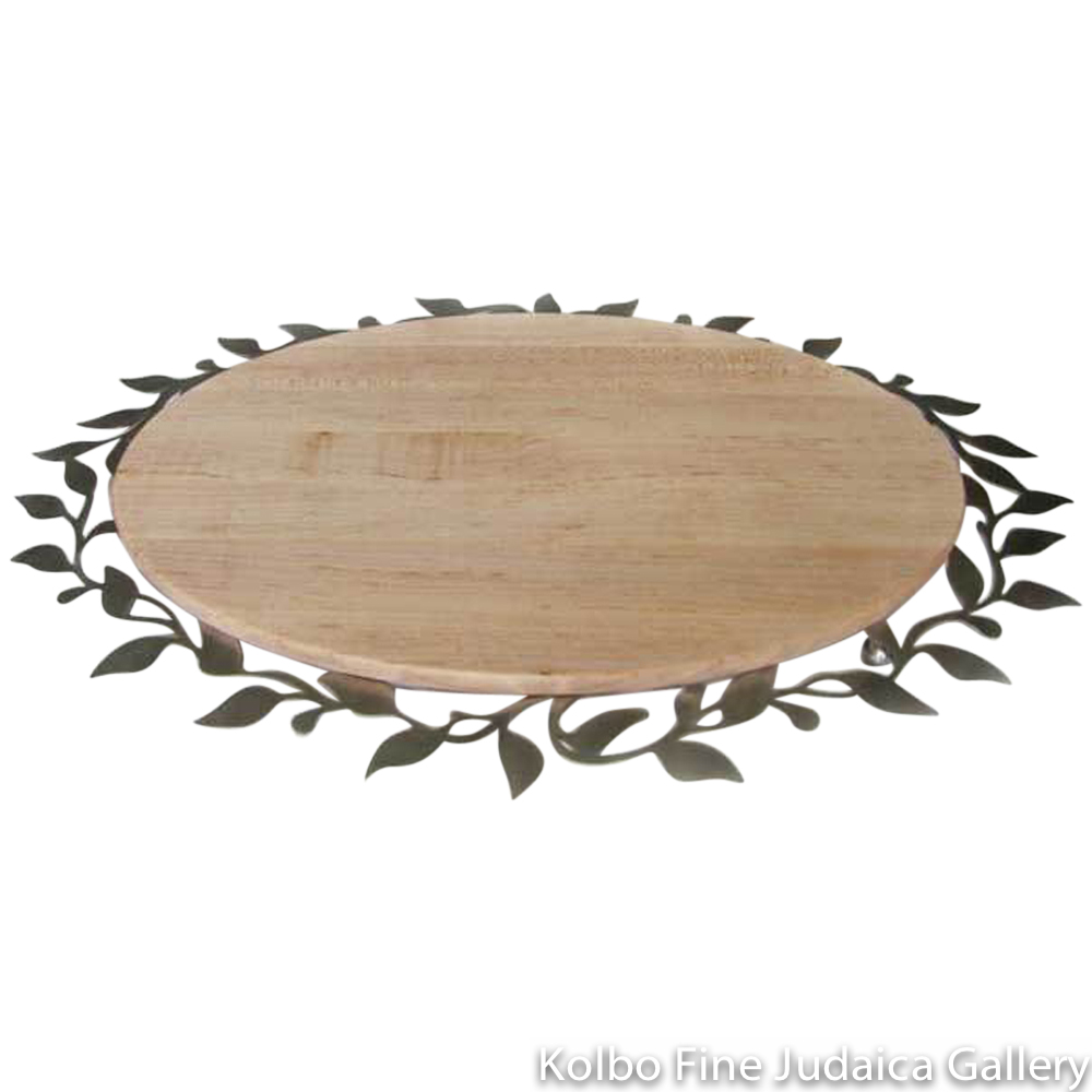 Challah Plate, Spring Design, Lasercut Stainless Steel with Maple Wood