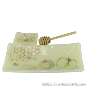 Honey and Apple Set, Hand-Painted and Fused on Almond Glass, Rectangular, One-of-a-Kind