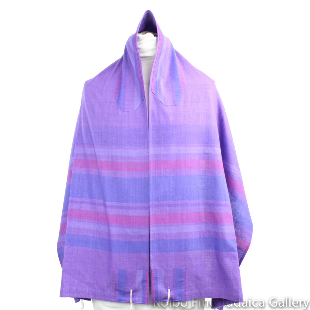 Tallit Set, Jewel Tones of Purple, Royal Blue, and Fuchsia, Hand-Spun Cotton and Silk, with Bag, Ethically and Sustainably Made